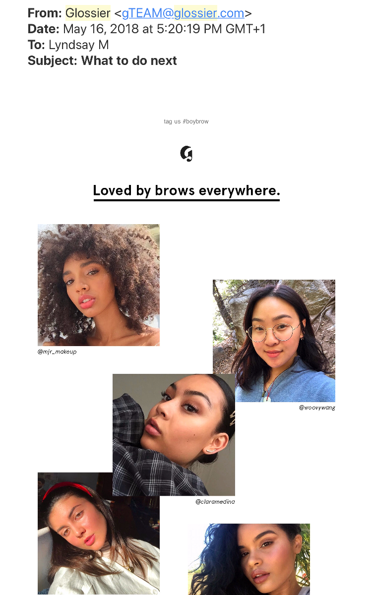 glossier personalized email customer communication
