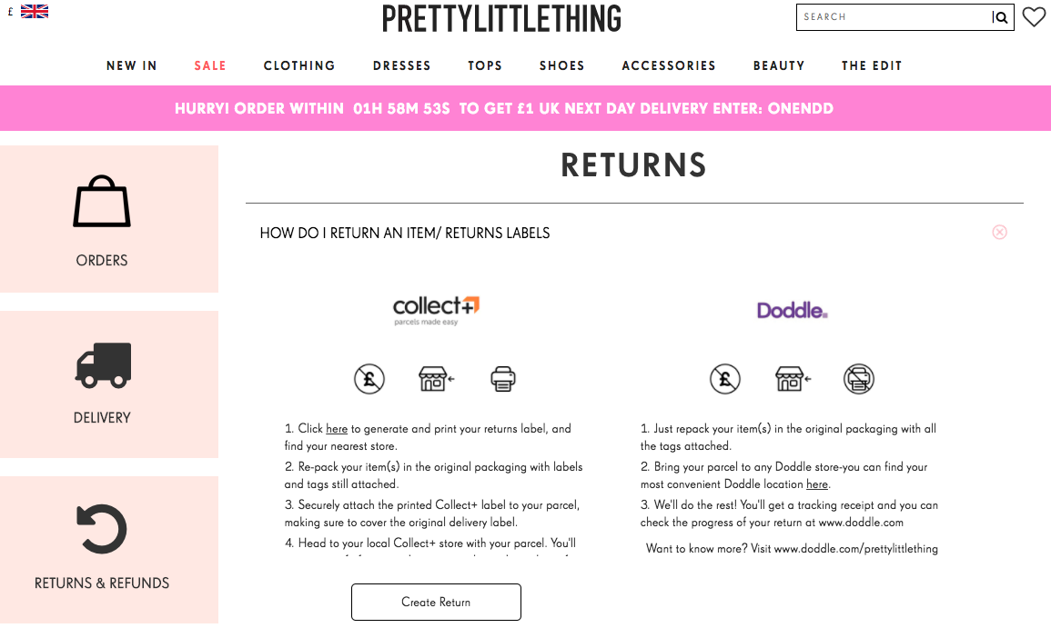 PrettyLittleThing e-commerce customer service